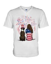 Brindle Boxer Long Brown Hair Woman 4th July V-Neck T-Shirt thumbnail