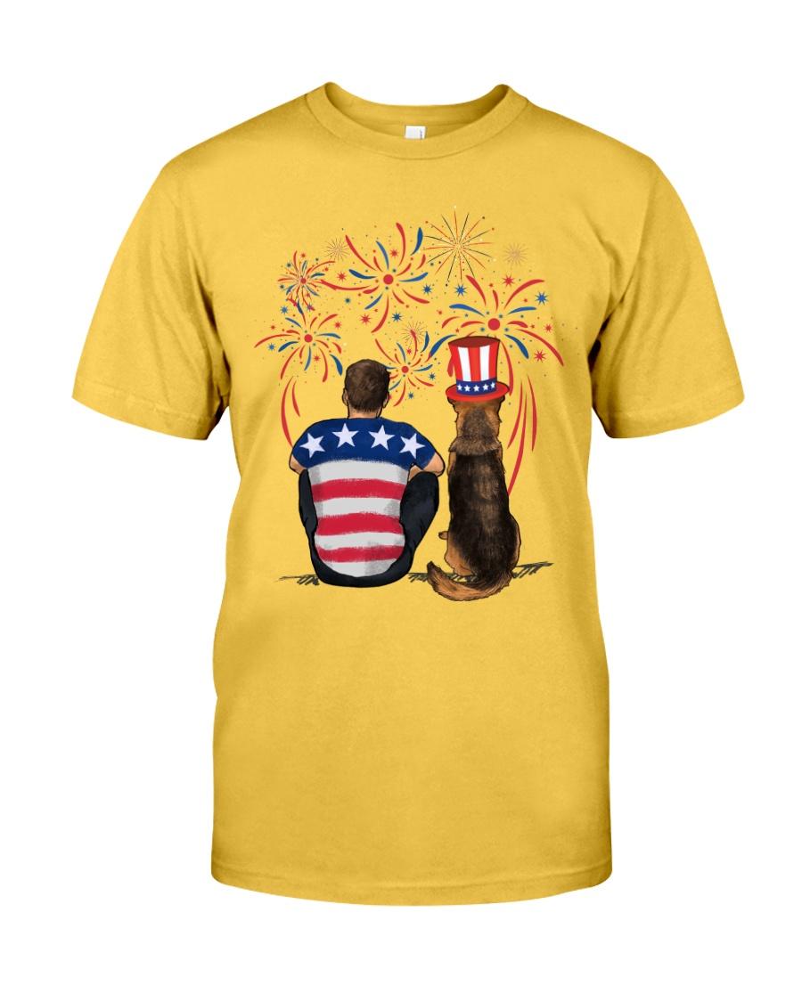 Red Black German Shepherd Brown Hair Man 4th July Classic T-Shirt