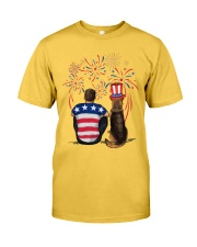 Red Black German Shepherd Brown Hair Man 4th July Classic T-Shirt front