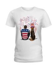 Red Black German Shepherd Brown Hair Man 4th July Ladies T-Shirt thumbnail