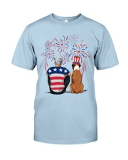 Tan White Boxer Silver Hair Man 4th July Classic T-Shirt front