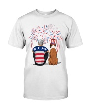 Tan White Boxer Silver Hair Man 4th July Classic T-Shirt thumbnail
