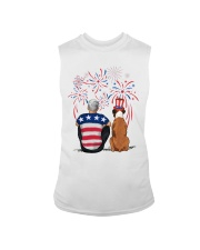 Tan White Boxer Silver Hair Man 4th July Sleeveless Tee thumbnail