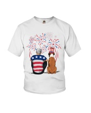 Tan White Boxer Silver Hair Man 4th July Youth T-Shirt thumbnail