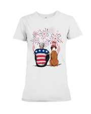 Tan White Boxer Silver Hair Man 4th July Premium Fit Ladies Tee thumbnail