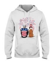 Tan White Boxer Silver Hair Man 4th July Hooded Sweatshirt thumbnail