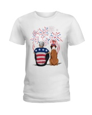 Tan White Boxer Silver Hair Man 4th July Ladies T-Shirt thumbnail