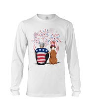 Tan White Boxer Silver Hair Man 4th July Long Sleeve Tee thumbnail