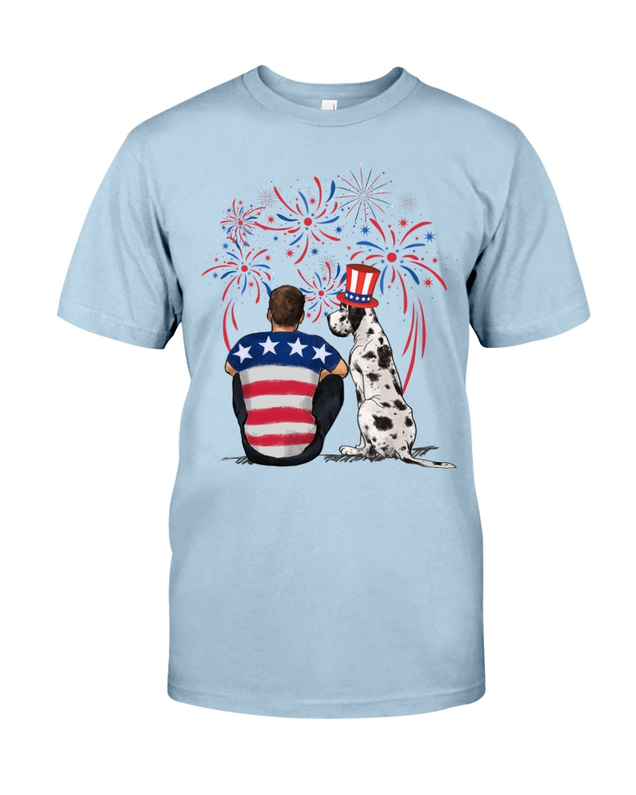 Harlequin Great Dane Brown Hair Man 4th July Classic T-Shirt