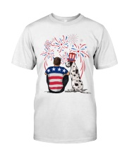 Harlequin Great Dane Brown Hair Man 4th July Classic T-Shirt thumbnail