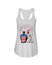 Harlequin Great Dane Brown Hair Man 4th July Ladies Flowy Tank tile