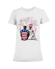 Harlequin Great Dane Brown Hair Man 4th July Premium Fit Ladies Tee thumbnail