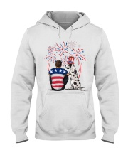 Harlequin Great Dane Brown Hair Man 4th July Hooded Sweatshirt thumbnail