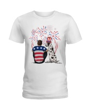 Harlequin Great Dane Brown Hair Man 4th July Ladies T-Shirt thumbnail