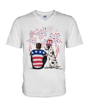 Harlequin Great Dane Brown Hair Man 4th July V-Neck T-Shirt thumbnail