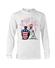 Harlequin Great Dane Brown Hair Man 4th July Long Sleeve Tee thumbnail