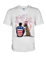 Brindle Great Dane Black Hair Man 4th July V-Neck T-Shirt thumbnail