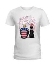 Black Boxer Blonde Hair Man 4th July Ladies T-Shirt thumbnail