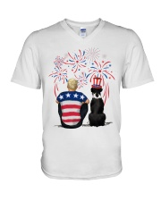 Black Boxer Blonde Hair Man 4th July V-Neck T-Shirt thumbnail
