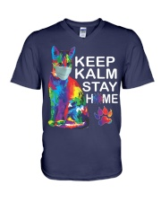 KEEP CALM STAY HOME V-Neck T-Shirt thumbnail