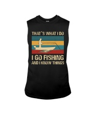 I go fishing and i know things Sleeveless Tee front
