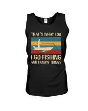 I go fishing and i know things Unisex Tank thumbnail