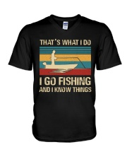 I go fishing and i know things V-Neck T-Shirt thumbnail