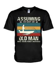 Assuming i'm just an old man love FISHING V-Neck T-Shirt thumbnail