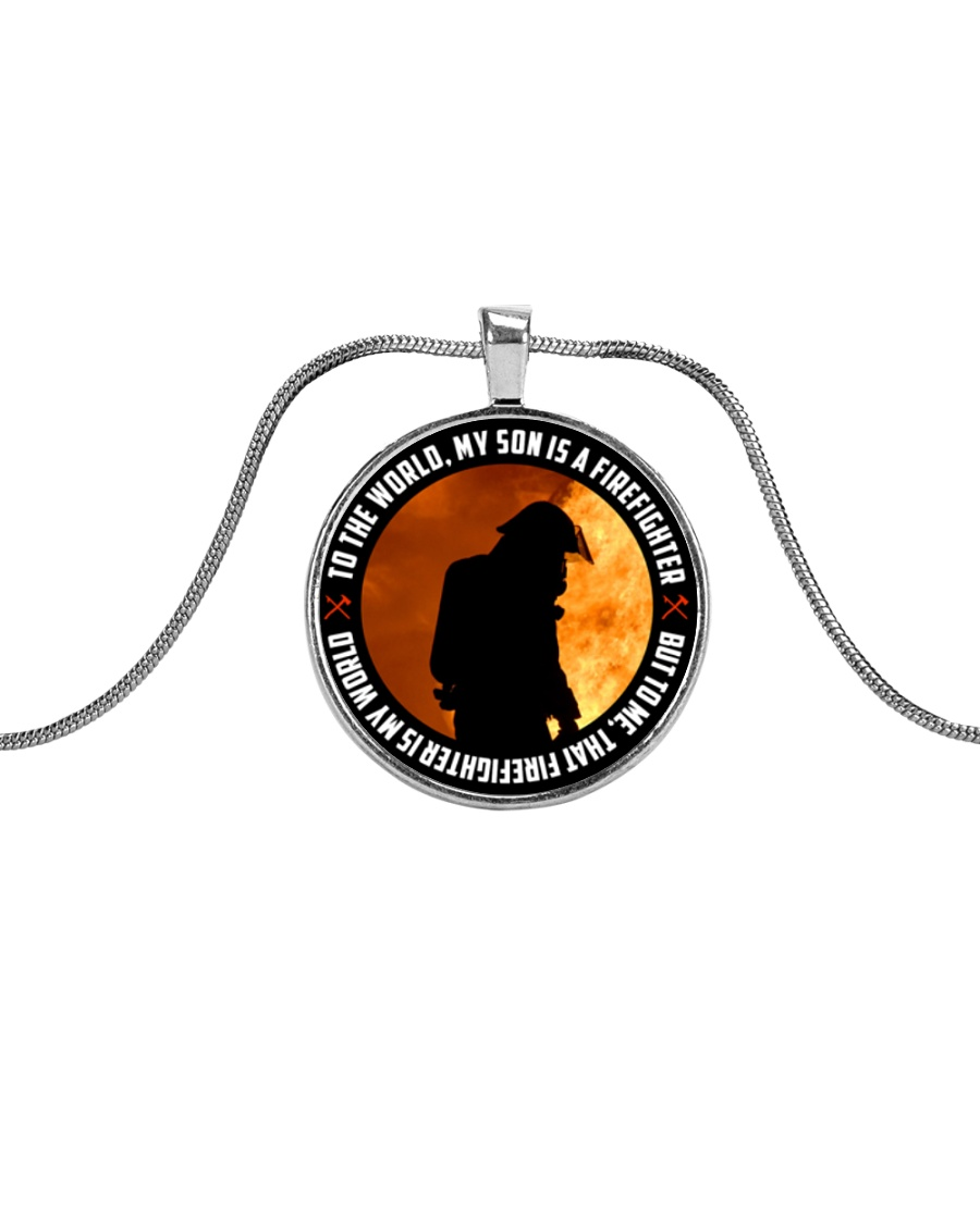 THAT FIREFIGHTER IS MY WORLD Metallic Circle Necklace