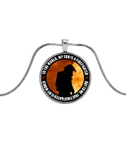 THAT FIREFIGHTER IS MY WORLD Metallic Circle Necklace front