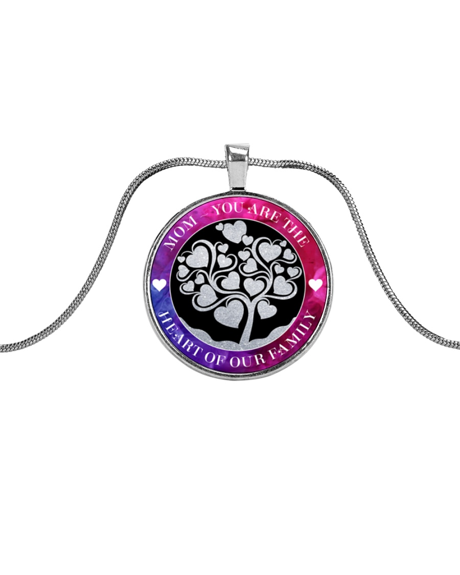 MOM YOU ARE THE HEART OF OUR FAMILY Metallic Circle Necklace