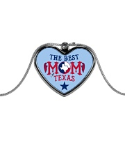 The Best MOM in Texas Metallic Heart Necklace front