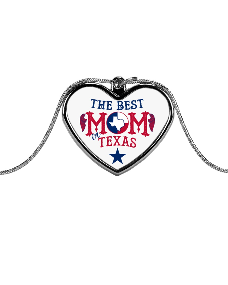 The Best MOM in Texas Metallic Heart Necklace