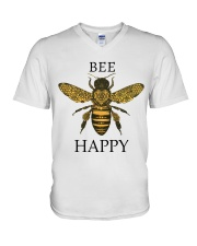Bee happy V-Neck T-Shirt tile
