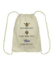 Help more bees plant more trees Drawstring Bag tile