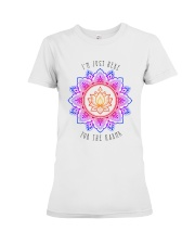 I'm just here for the karma Premium Fit Ladies Tee front