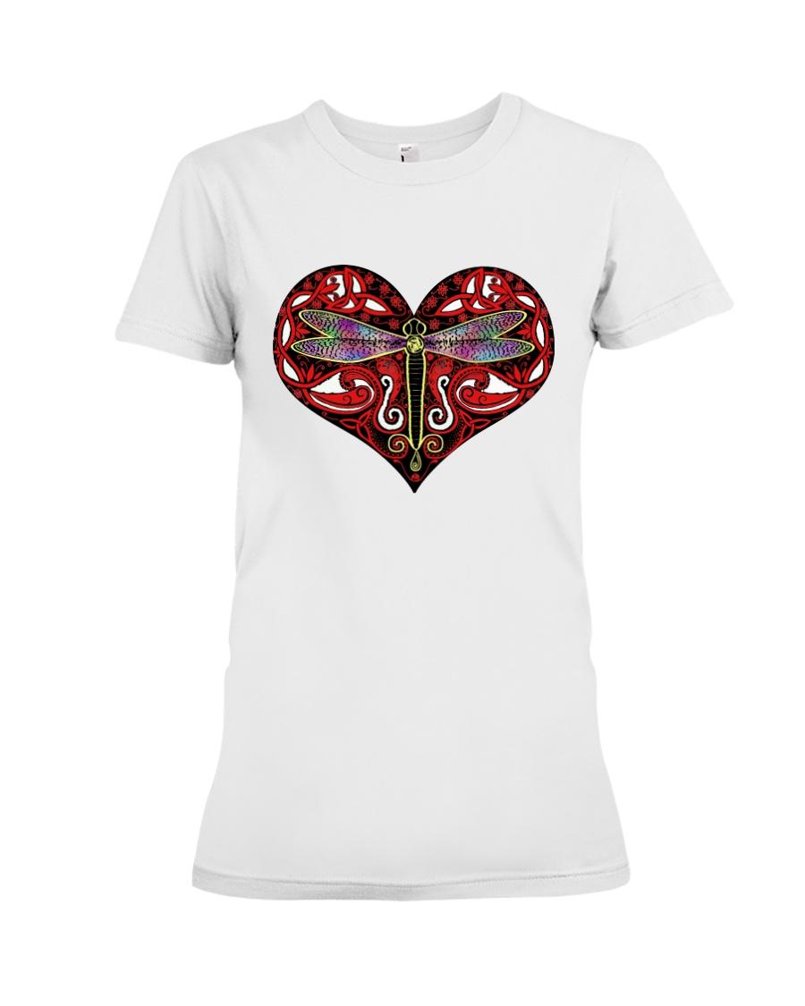 Red heart mandala Premium Fit Ladies Tee
