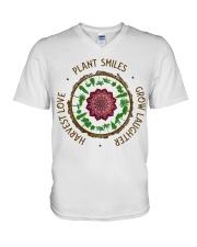 Plant smiles grow laughter harvest love V-Neck T-Shirt thumbnail