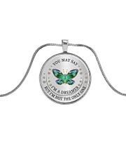You May Say I Am A Dreamer Metallic Circle Necklace front