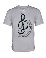 Rock And Roll Peace Love Music Hippie  V-Neck T-Shirt thumbnail