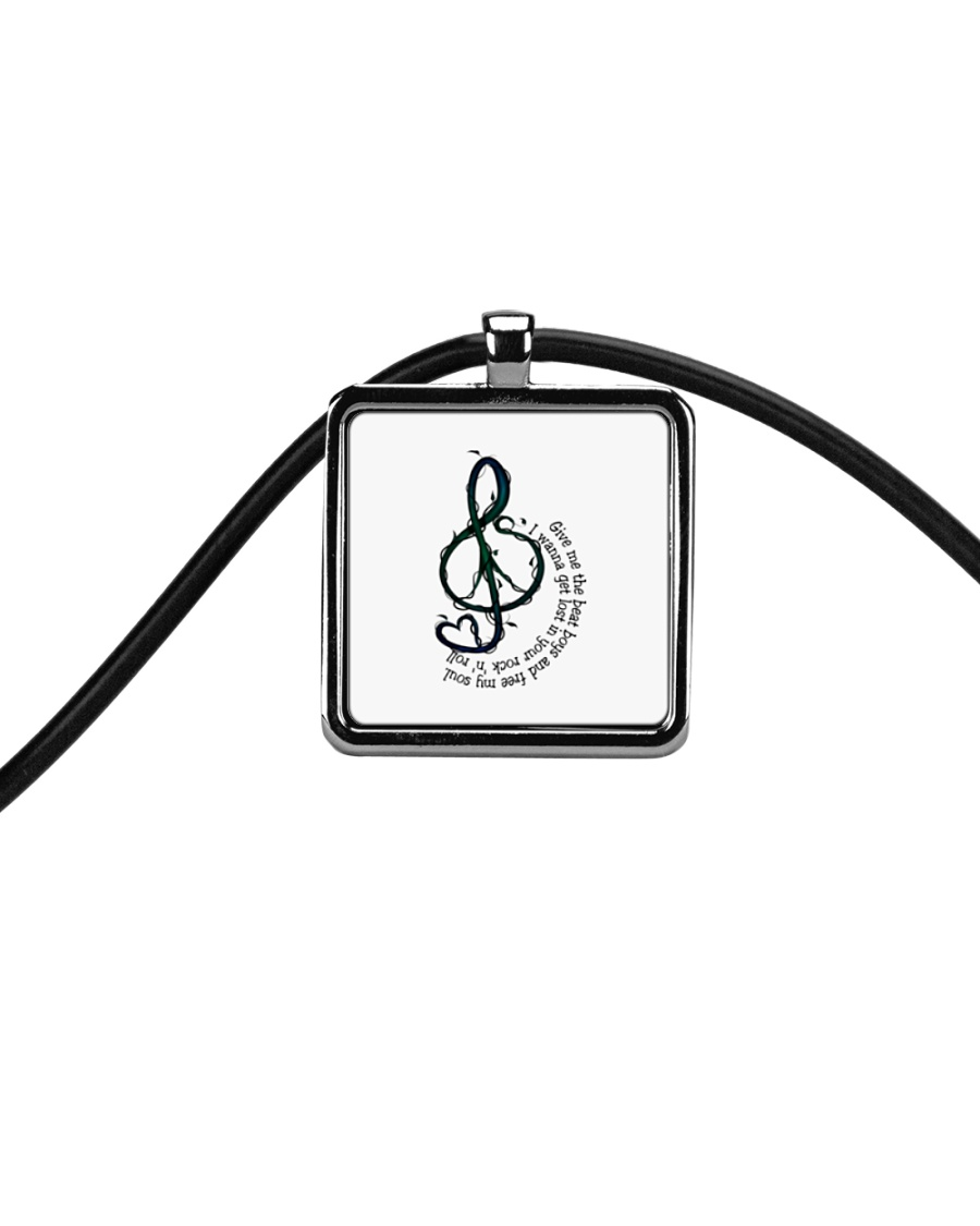 Rock And Roll Peace Love Music Hippie  Cord Rectangle Necklace