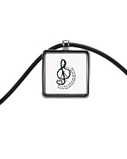 Rock And Roll Peace Love Music Hippie  Cord Rectangle Necklace thumbnail