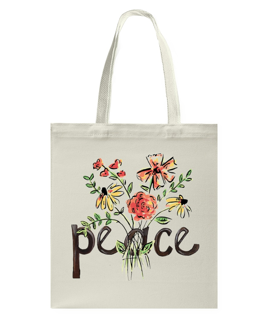 Peace Flowers Hippie  Tote Bag