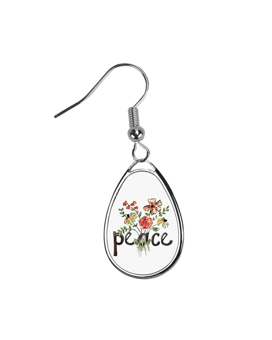 Peace Flowers Hippie  Teardrop Earrings