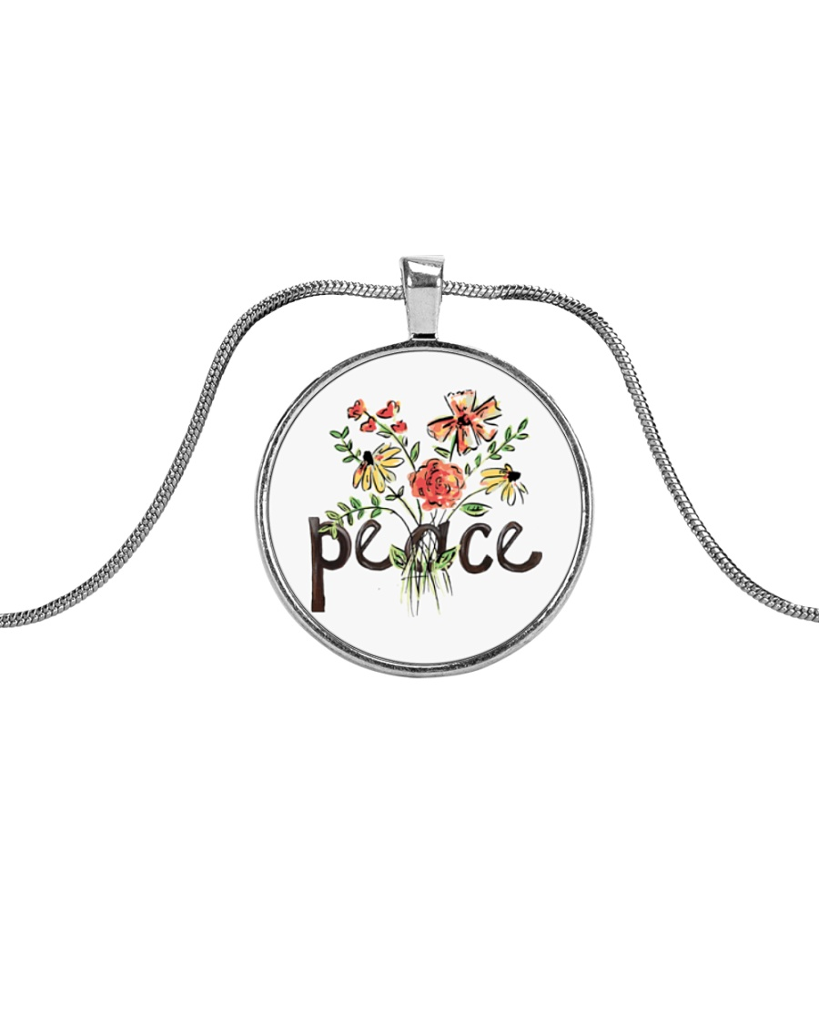Peace Flowers Hippie  Metallic Circle Necklace