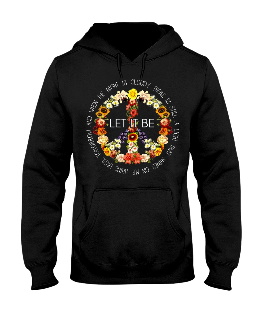 Let It Be Fowers Music Hippie  Hooded Sweatshirt