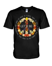 Let It Be Fowers Music Hippie  V-Neck T-Shirt thumbnail