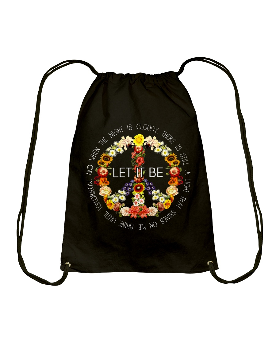 Let It Be Fowers Music Hippie  Drawstring Bag