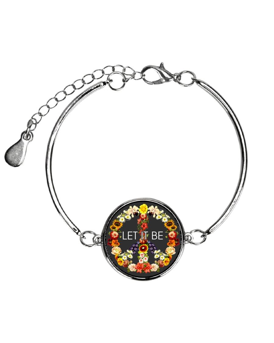 Let It Be Fowers Music Hippie  Metallic Circle Bracelet