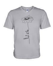 Let It Be Flower Hippie Music  V-Neck T-Shirt thumbnail